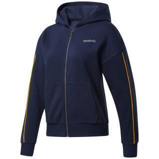 Dames sweatshirt met capuchon Reebok Piping Zip-Up